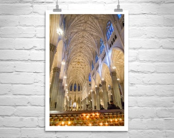 NYC Art, St Patricks Cathedral, Vertical Print, Church Art, New York Photograph, Manhattan Photo, Church Architecture, Church Picture