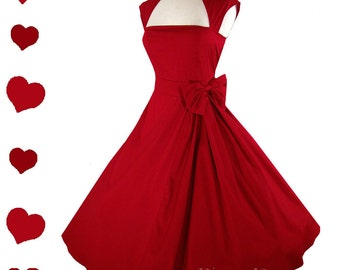 New Red Rockabilly  50s Style Pinup Party Dress S M XXL Plus Size Vintage Style Collar Bow Full Skirt
