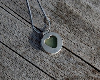 serenity seafoam seaglass necklace, handmade, sterling silver
