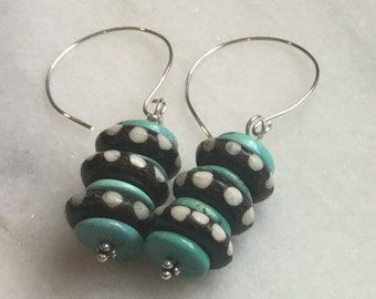 Christmas in July Turquoise and Bone Stacked Dangle Earrings      Ethnic  Jewelry  Tribal Jewelry