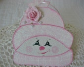 Reserved for Stacy - Hand Painted Snowman SnowLady Ornament Pink Roses Glitter Pearls