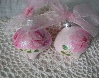 Glass Pink Ornaments Hand Painted Pink Roses, Glitter Set of 2