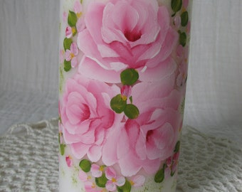 Pillar Candle Hand Painted Pink Roses White unscented