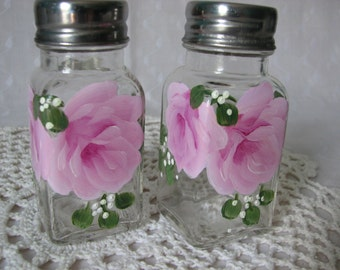 Salt Pepper Shakers Hand Painted Pink Roses Kitchen Home Decor