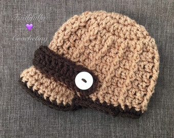 Newborn brim hat... Newsboy hat.. Photography prop.. Ready to ship