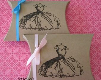 10 Gift Boxes, Jewelry Gift Boxes, Party Favor Boxes, Wedding Favor Box, Paris Theme Party, Black Dress, Brown Gift Box, Pillow Box