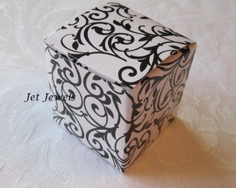 20 Gift Boxes, Gift Box, Jewelry Gift Box, Black Boxes, Black Damask, Wedding Favor Boxes, Candy Box, Small Boxes, Black and White 2x2x2