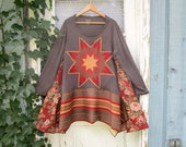 Plus Size Quilt Star Bohemian Upcycled Tunic Top// Fall Colors// 1X 2X 3X// emmevielle