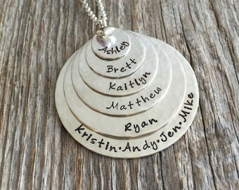 6 Stack -- Six Disc Hand Stamped Sterling Silver Name Tag Necklace