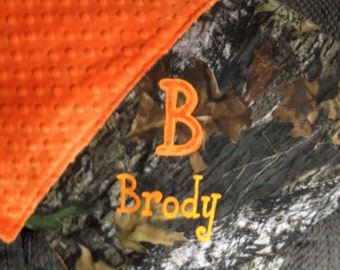 Personalized Baby Newborn Infant Toddler Mossy Oak or Realtree Camo Camouflage Blanket 28 x 30  with Minky Backing