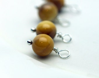 Yellow Round Bead and Silver Bead Dangle Drop Charm Set