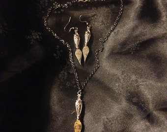 Writer's Block - ink pen nib earring and necklace set