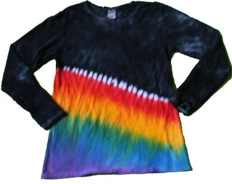 Tie Dye Shirt in Black with a Rainbow- New Twist on an Old Classic of Rainbow Tie Dye- Girls and Adult Sizes Available