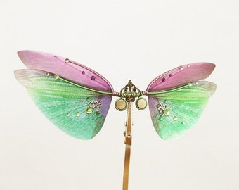 1/12 OOAK Butterfly wings for dolls PukiFee from Fairyland  -  Large DragonFly - Purple Green