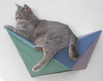 Modern cat shelf wall bed geometric in muted blue, grey & green