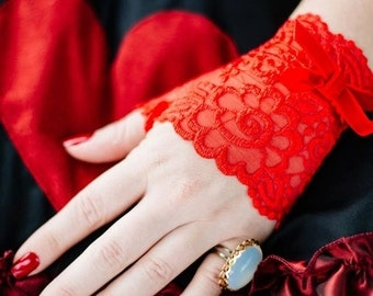 Color Lace Fingerless Gloves - Choose Your Color-Red Lace- Bridal Victorian Steampunk-Custom to Order