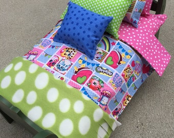 SHOPKINS II - 7-Piece Doll Bedding Set - Fits 18-Inch Doll Beds