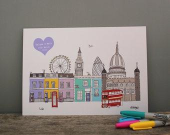 London Personalised Print - London Skyline Print - A4 Illustration - London Engagement Gift - Wedding Art Gift - Wedding Skyline Gift
