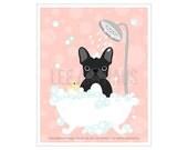21F - Dog Drawing - Black French Bulldog in Bathtub Wall Art - Pink Nursery Prints - Pink Girl Nursery Decor - Black French Bulldog Print