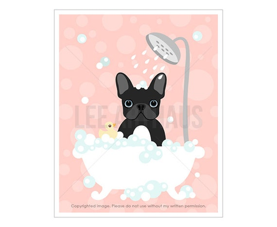 21F - Dog Drawing - Black French Bulldog in Bathtub Wall Art - Pink Nursery Prints - Pink Girl Nursery Decor - Black French Bulldog Print