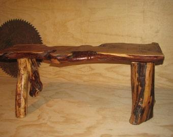 Mountain Juniper Cedar log bench live edge