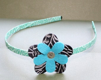 CLEARANCE - Light Blue and Black Wrapped Head Band - Washi Tape and Metal Headband - Felt and Leather Flower