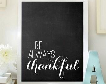 thanksgiving printable art print 8x10, thanksgiving poster DIY, digital Thanksgiving art decor, Thanksgiving wall art - Thankful