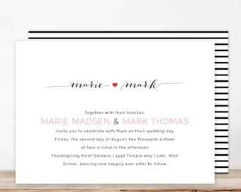 black and white wedding invitation, modern wedding invitation, custom wedding invitation, DIY printable wedding invitation