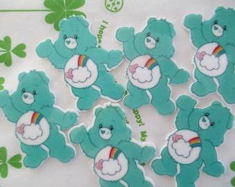 Care bear teddy cabochons 4pcs Flat Teal 45mm x 39mm New item