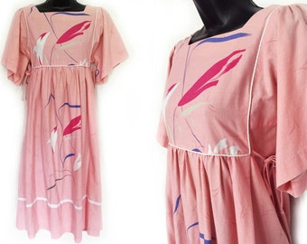 70s Pink with Abstract Floral Print Tie Sides Cotton Dress S M