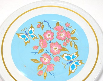 """Butterflies, 1960s Tin Toy tea plate, Blue with Pink flowers, larger size 5 1/4""""."""