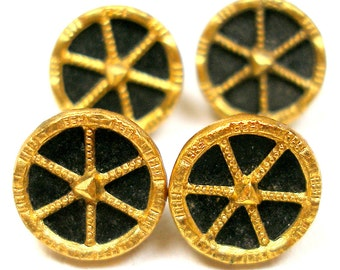 "Mini Antique BUTTONS, 4 Victorian metal, gold & black, 3/8""."