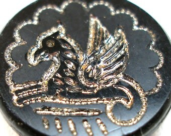 Griffin, Antique black glass BUTTONS, Victorian Silver intaglio with gryphon design.