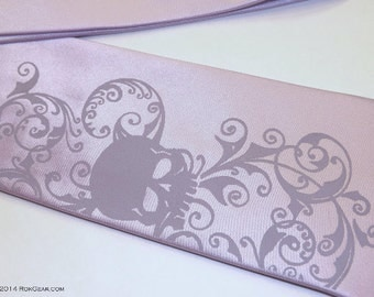 Necktie men lavender skull tie sale item by RokGear