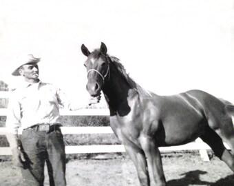 Vintage Cowboy & Horse Black and White Photograph