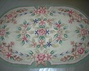 Vintage Hooked Rug Shabby Pink Cottage Roses Oval Floor Rug