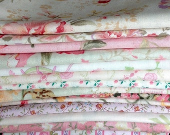 Fat Quarter Bundle of 12 - Pinks & Greens + 2 One Half Yard Pieces -