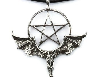 Dragon and Pentagram Pendant Necklace, Ready to Wear, Handmade Pewter Jewellery, Gothic, Halloween, Medieval, Wiccan, Pagan Gift 8CAPP24