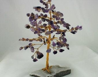 Amethyst Gemstone Tree, Chalcedony Druzy, 160 Gem Chips, Wire Tree of Life, Feng Shui Tree, Bonsai Gem Tree, Handmade Tree Sculpture, Gift