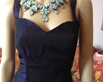 Vintage 60s Evening Gown...Blue/Black Sharkskin...Small