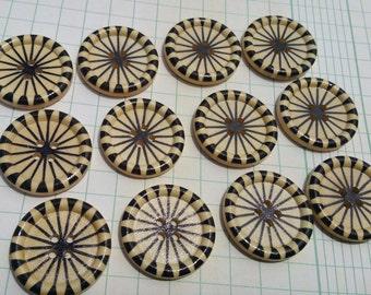 """Black Wood Buttons - Black Wooden Pinwheel Button - Sewing Bulk Buttons - 1 3/16"""" - 12 Buttons"""