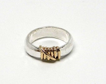 14kt Gold Fill & Fused Sterling Silver  with Free Form Wire Sculpted Accent Coctail Ring