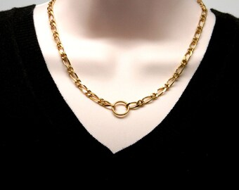 Discreet Slave Collar Vintage Gold Tone Heavy Figaro Chain Slave Day Collar