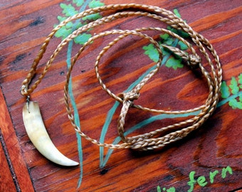 Possum fang necklace - real American opossum tooth on hand-braided adjustable cord in black, natural, or red-brown