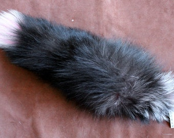 Fox tail - real eco-friendly pink and black dyed silver fox fur totem dance tail on braided belt loop for shamanic ritual and dance DF03