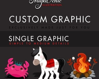 Custom Graphic Design, Custom Clipart Single, Simple to Medium Detail Illustrations. EXCLUSIVELY made for YOU!