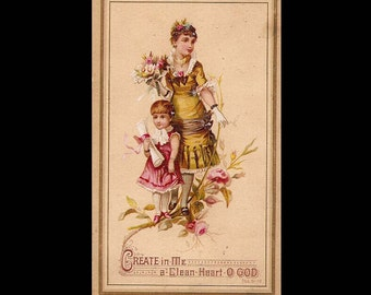 Create in Me a Clean Heart O God - Vintage Card