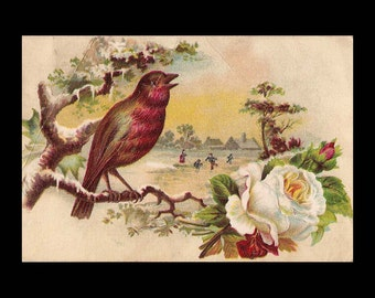 Lion Coffee Trade Card by Woolson Spice Company - Spring Greetings