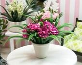 Hot Pink Flowers Floral Arrangement Fuchsia 1:12 Dollhouse Miniature Artisan