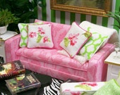 Pink Damask Couch Sofa Upholstered Furniture 1:12 Dollhouse Miniature OOAK